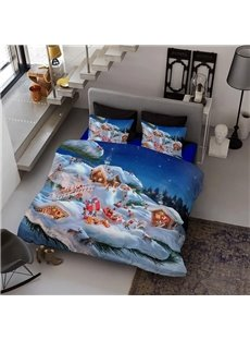 Merry Christmas Holiday Season Wear-resistant Breathable High Quality 60s Cotton 4-Piece 3D Bedding Sets