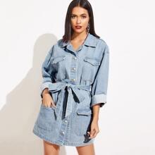Jeans Kleid mit Tasche Flicken und Knopfen