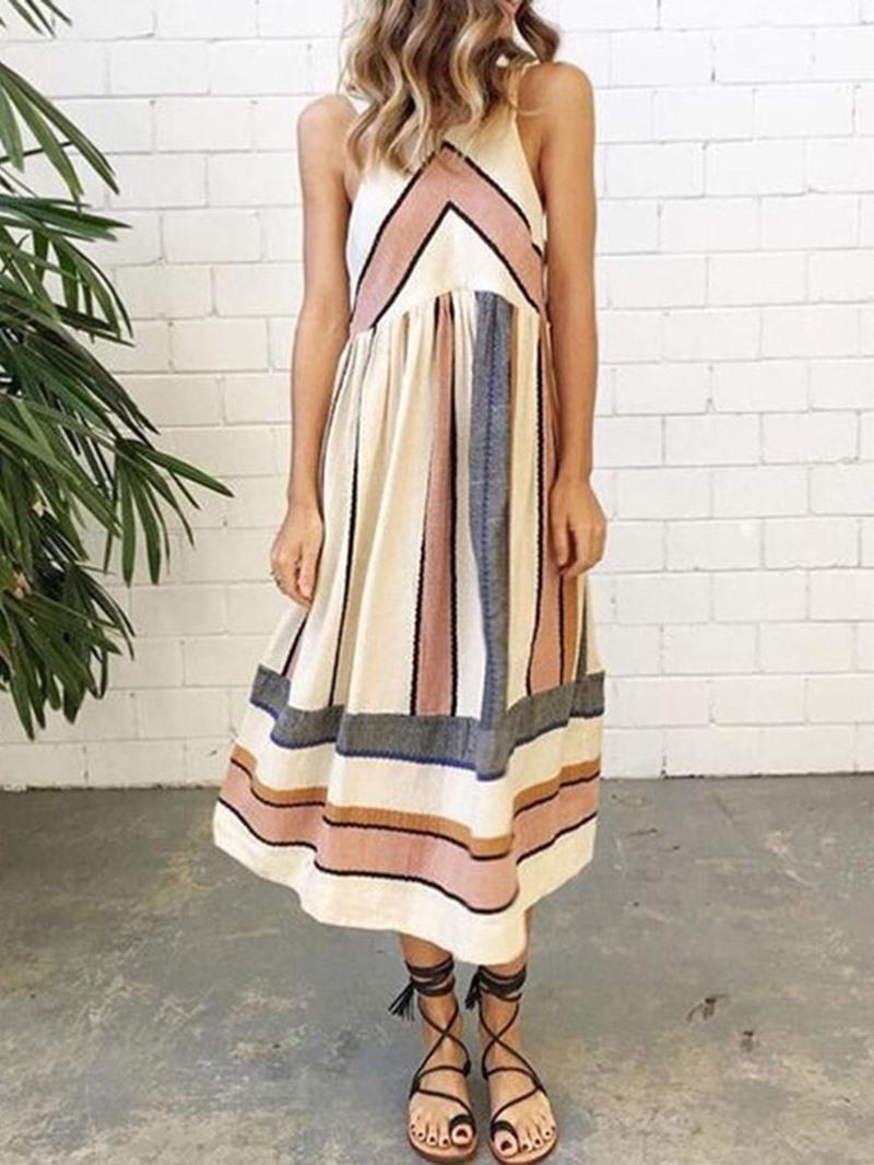 Ericdress Mid-Calf Print Sleeveless A-Line Mid Waist Casual Dress