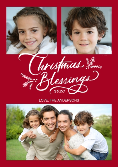 Christmas Photo Cards 5x7 Cards, Premium Cardstock 120lb with Rounded Corners, Card & Stationery -Christmas Blessings Photo Collage by Hallmark