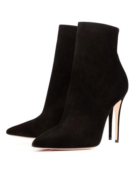 Milanoo High Heel Booties Women Ankle Boots Pointed Toe Zip Up Booties