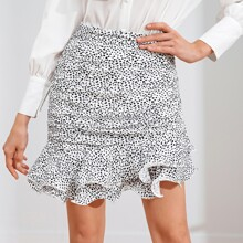Dalmatian Print Layered Ruffle Hem Skirt