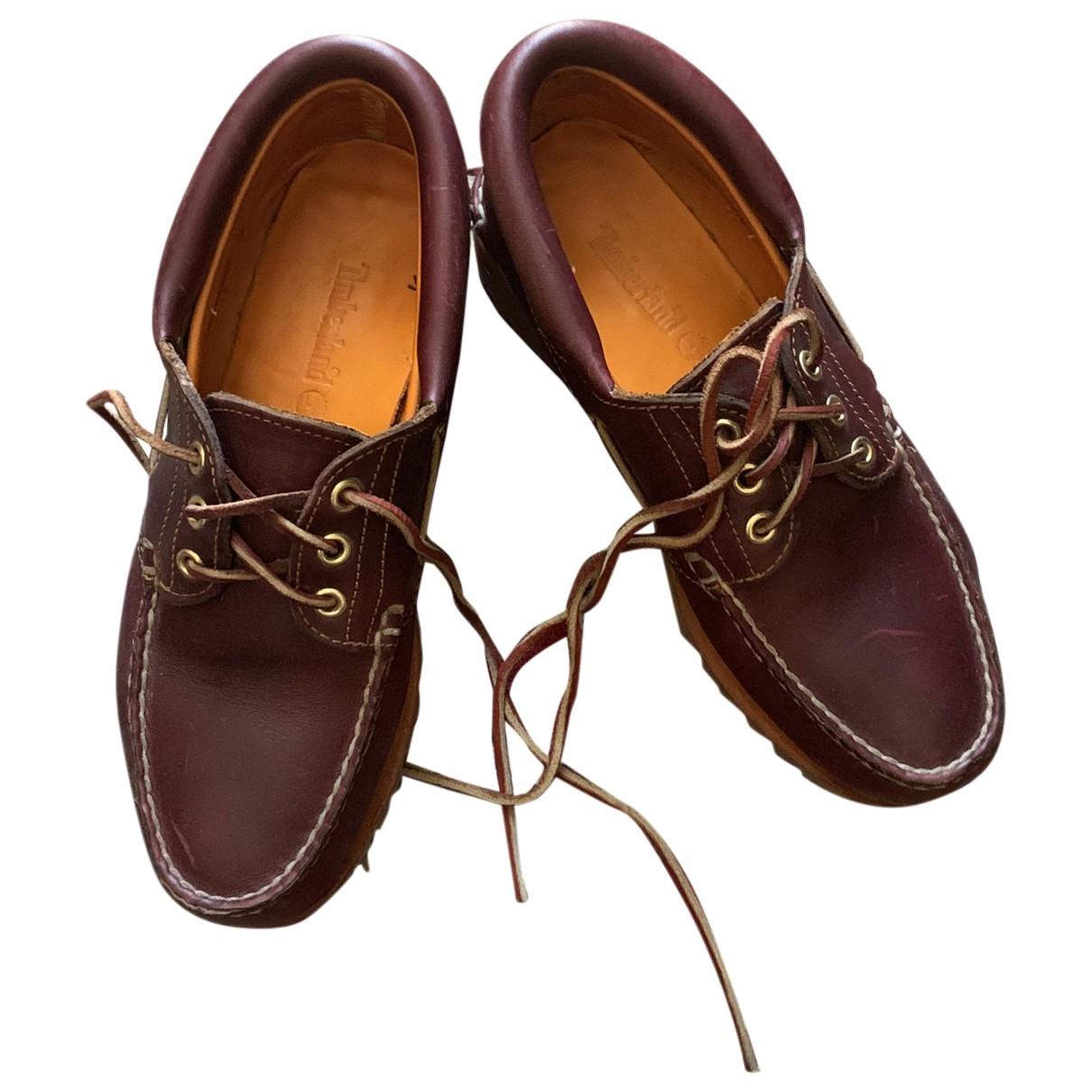 Timberland - Mocassins   pour homme en cuir - bordeaux