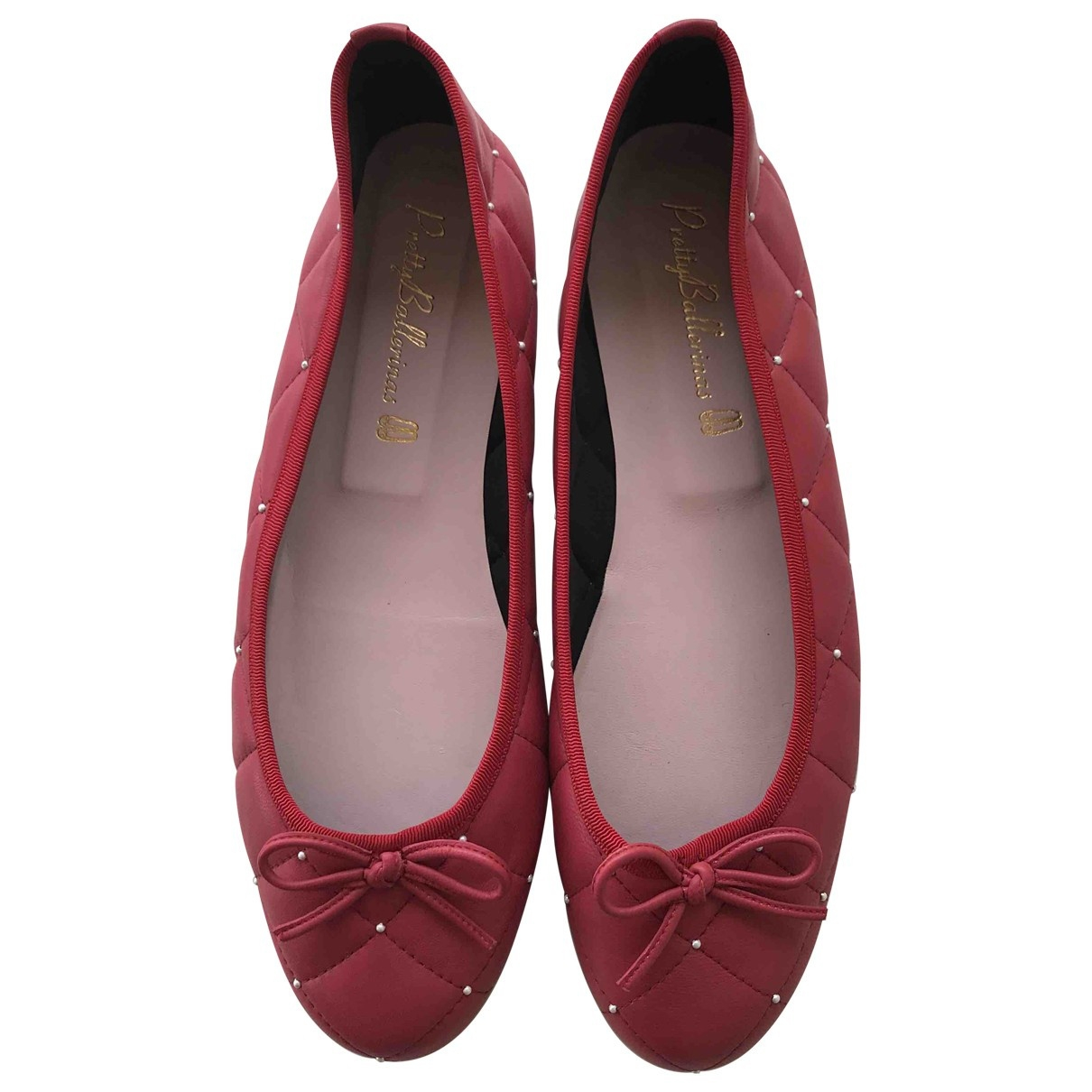 Pretty Ballerinas \N Red Leather Ballet flats for Women 41 EU