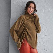 Pullover mit Trichterhals, Kordelzug und Ruesche