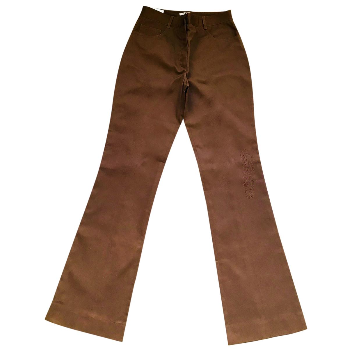 Miu Miu N Brown Cotton Trousers for Women 38 IT