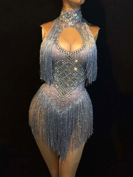 Milanoo Jazz Dance Costume Sexy Women Tassels Beading Cutout Night Club Wear Bodysuits Halloween