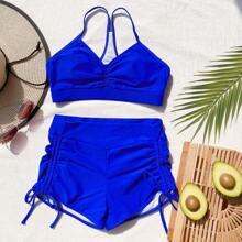 Bikini Badeanzug mit Rueschen und seitlichem Band
