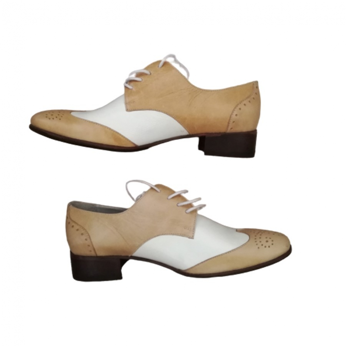 Non Signé / Unsigned \N Beige Leather Lace ups for Women 36 IT