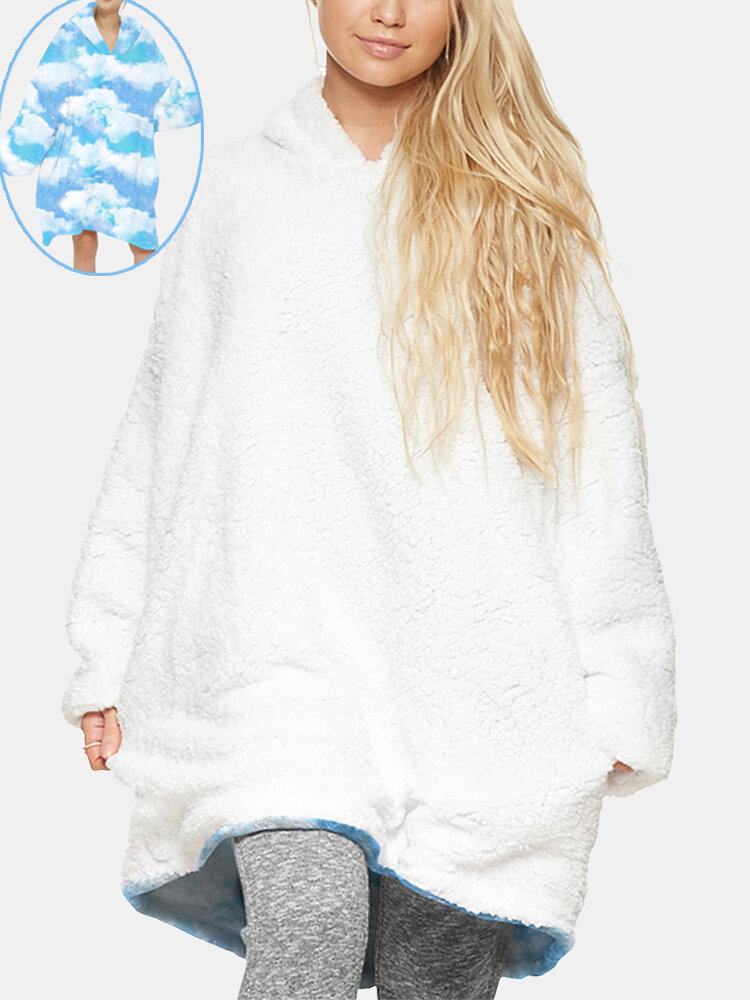 Women Allover Sky Print Fleece Lined Oversized Two-Sided Blanket Hoodie Home Heated Sweatshirt With Large Pocket