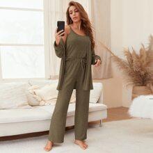 3pcs Solid Cami Top & Pants & Robe PJ Set