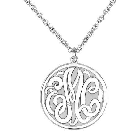 Personalized Sterling Silver 20mm Monogram Round Pendant Necklace, One Size , No Color Family