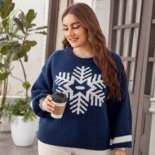 Plus Snowflake Pattern Bishop Sleeve Sweater