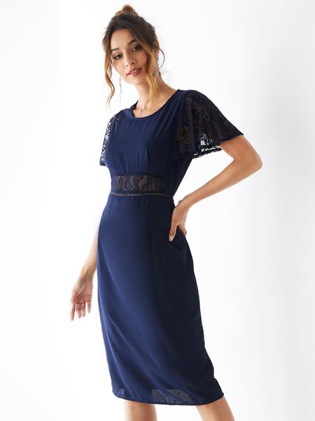 YOINS Navy Blue Lace Patchwork Round Neck Dress