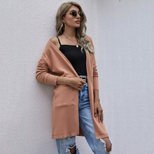 Solid Dual Pocket Open Front Cardigan