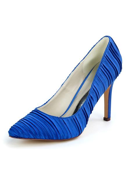 Milanoo White Wedding Shoes Satin White Pointed Toe Stiletto Heel Bridal Shoes