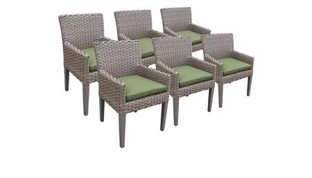 Monterey Collection MONTEREY-TKC297b-DC-3x-C-CILANTRO 6 Dining Chairs With Arms - Beige and Cilantro