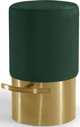 Liv Collection 797GREENC Bar Stool with Cylinder Shape  Velvet Upholstery  Footrest  Gold Base and Contemporary Style in