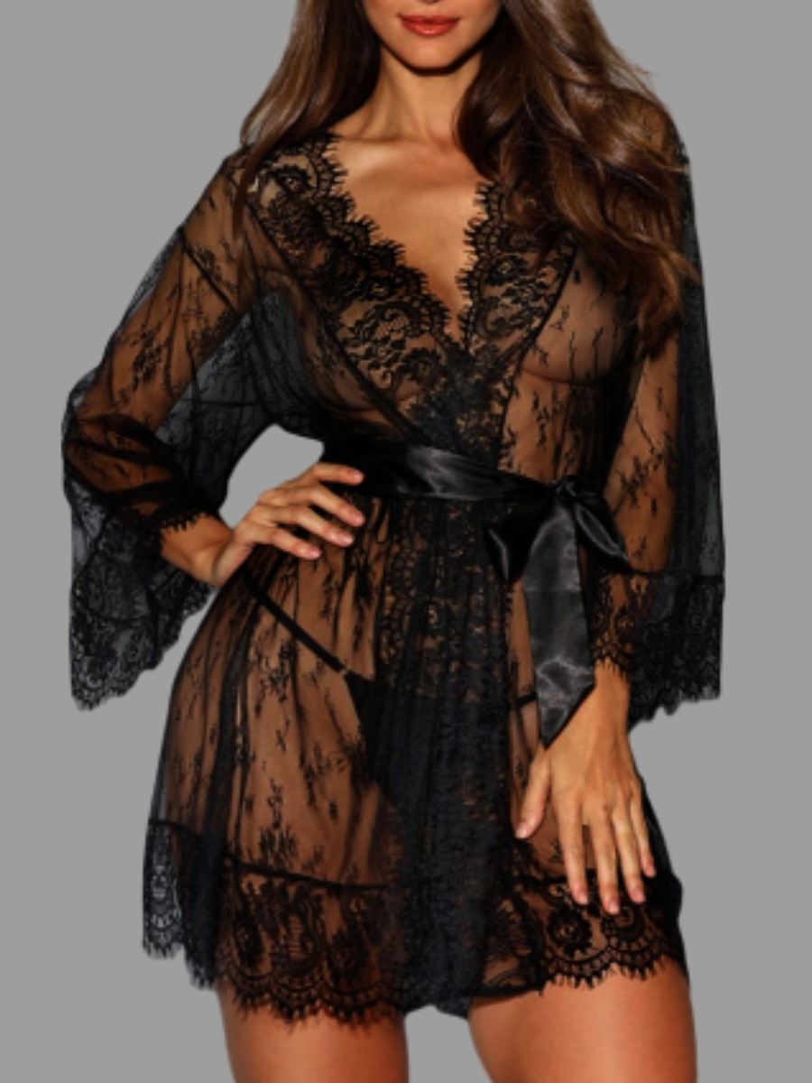 LW lovely Sexy Lace See-through Black Sleepwear