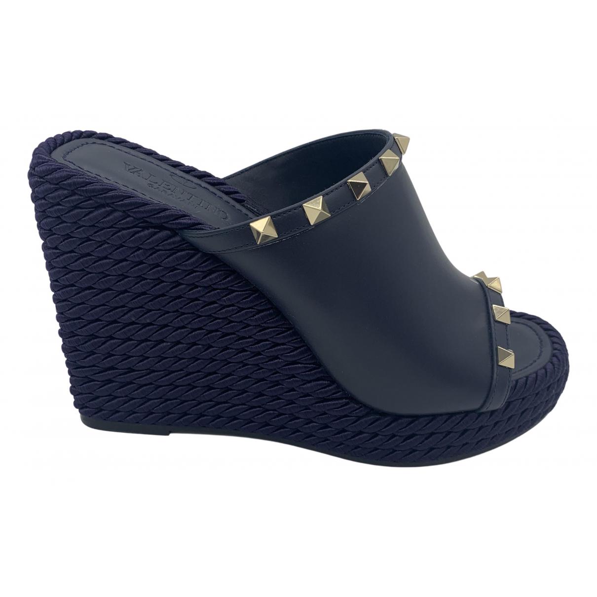Valentino Garavani \N Blue Leather Sandals for Women 39 EU