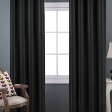 1pc Solid Color Eyelet Curtain