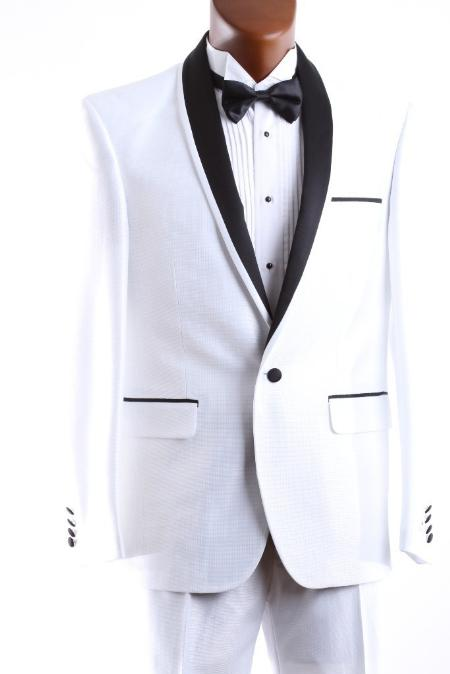 Mens 1 Button White 3 Piece Vested Tuxedo Slim Fit Polyester Fabric