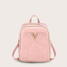 Girls Letter Decor Pocket Front Backpack