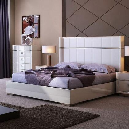 Paris 18217-Q 65 x 55 Queen Bed with Genuine Leather and Chrome Accents in Grey Lacquer