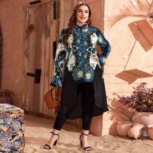 Bluse mit Schal Muster und asymmetrischem Muster