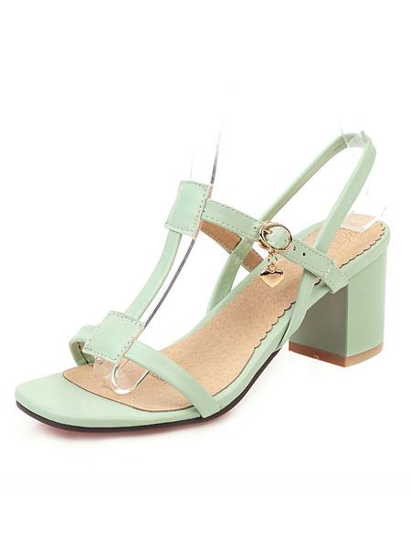 Milanoo Sandalias de tacon de bloque Mujer Sandalias de tacon abierto Tipo T Zapatos de sandalia de tacon medio