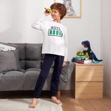 Schlafanzug Set mit Buchstaben und Batterie Muster