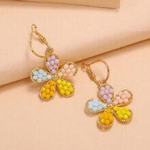 Toddler Girls Bead Flower Drop Earrings