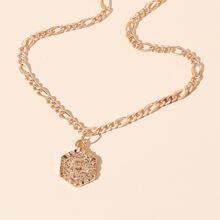 Letter Design Hexagon Charm Necklace