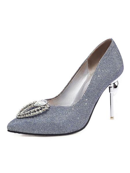 Milanoo Zapatos de fiesta de tacon alto de cristal Bombas plateadas Zapatos de noche con punta puntiaguda