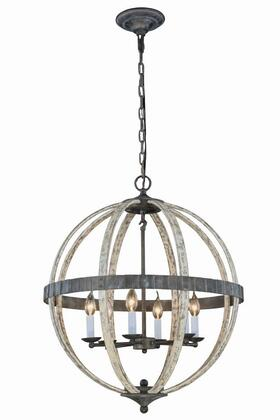 1503D24IW Orbus Collection Pendant Lamp D:24 H:29 Lt:6 Ivory wash & Steel grey