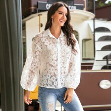 Allover Floral Button Up Sheer Blouse