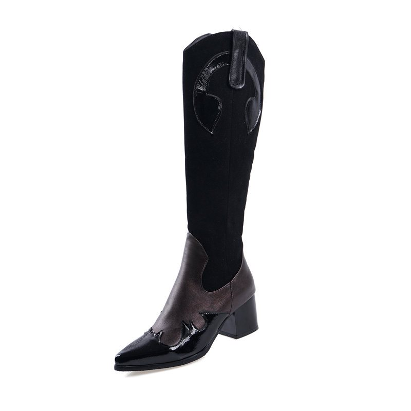 Ericdress Color Block Pointed Toe Side Zipper Women's Knee High Boots
