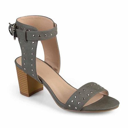 Journee Collection Womens Mabel Pumps Stacked Heel, 8 Medium, Gray