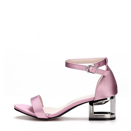 Yoins Purple Hollow Metallic Block Heel Single Strap Front Sandals