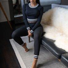 Striped Trim Rib-knit Crop Top & Pants Set