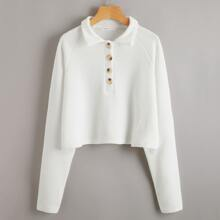 Button Front Crop Sweater