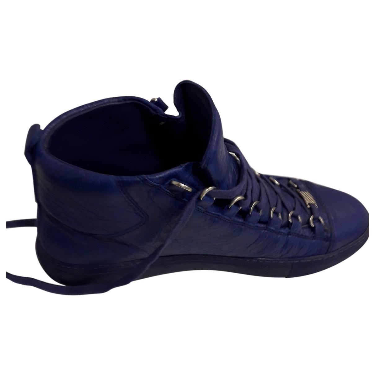 Balenciaga Arena Navy Leather Trainers for Men 42 EU