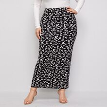 Plus All Over Print Knitted Pencil Skirt