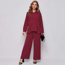 Bluse mit Stufensaum, Knopfen vorn und Hose mit breitem Beinschnitt