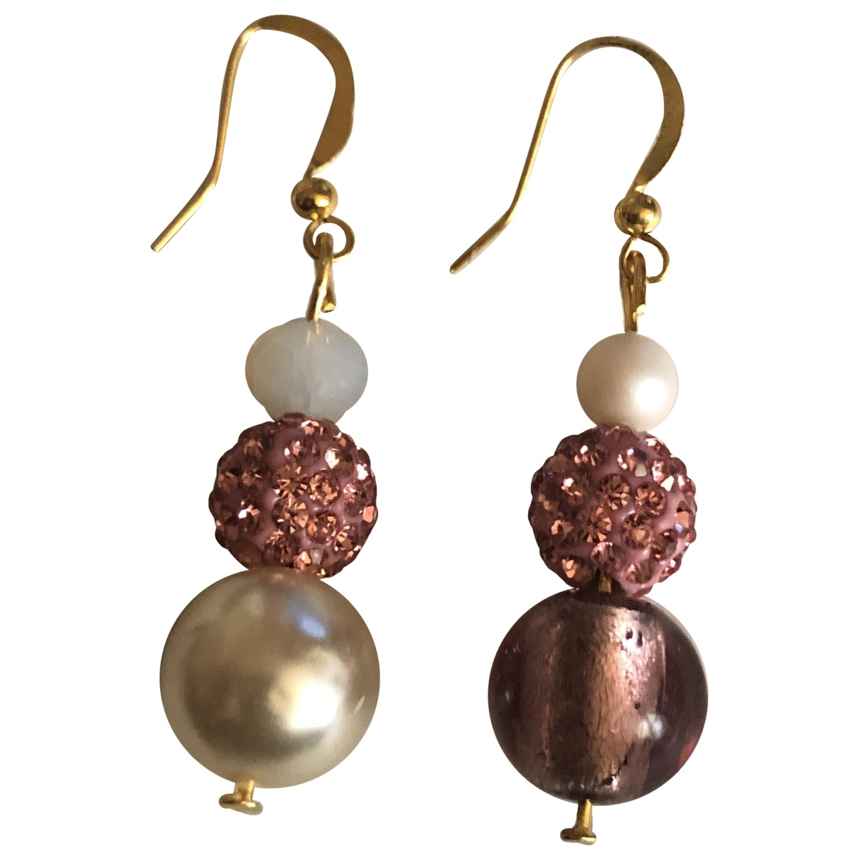 Non Signé / Unsigned Nacre Gold Pearls Earrings for Women \N