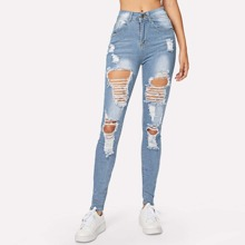 Distressed Stone Wash Skinny Jeans