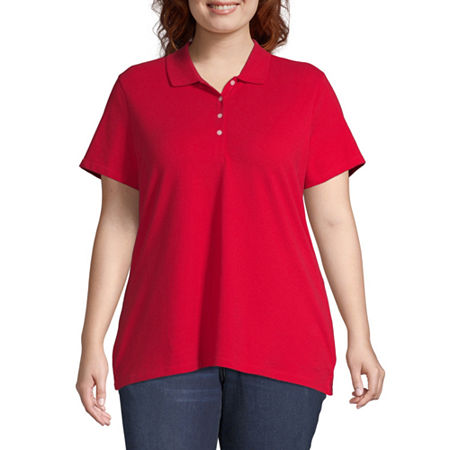 St. John's Bay Plus Womens Short Sleeve Knit Polo Shirt, 2x , Red