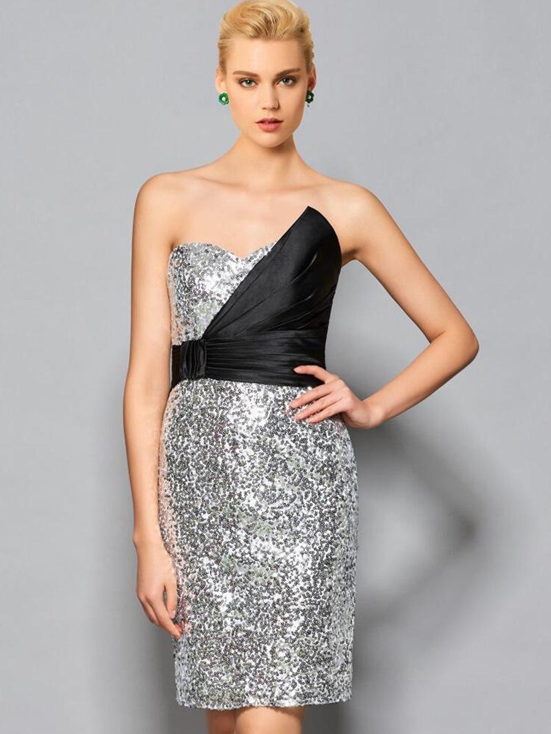 Ericdress Sheath Sweetheart Pick-Ups Sequins Short Cocktail Dress