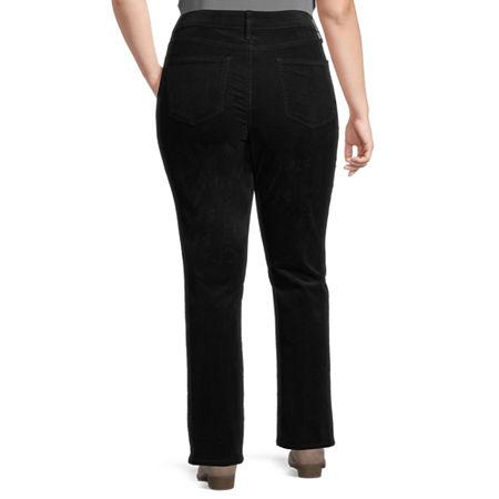 St. John's Bay Womens Mid Rise Straight Corduroy Pant - Plus, 14w Short , Black
