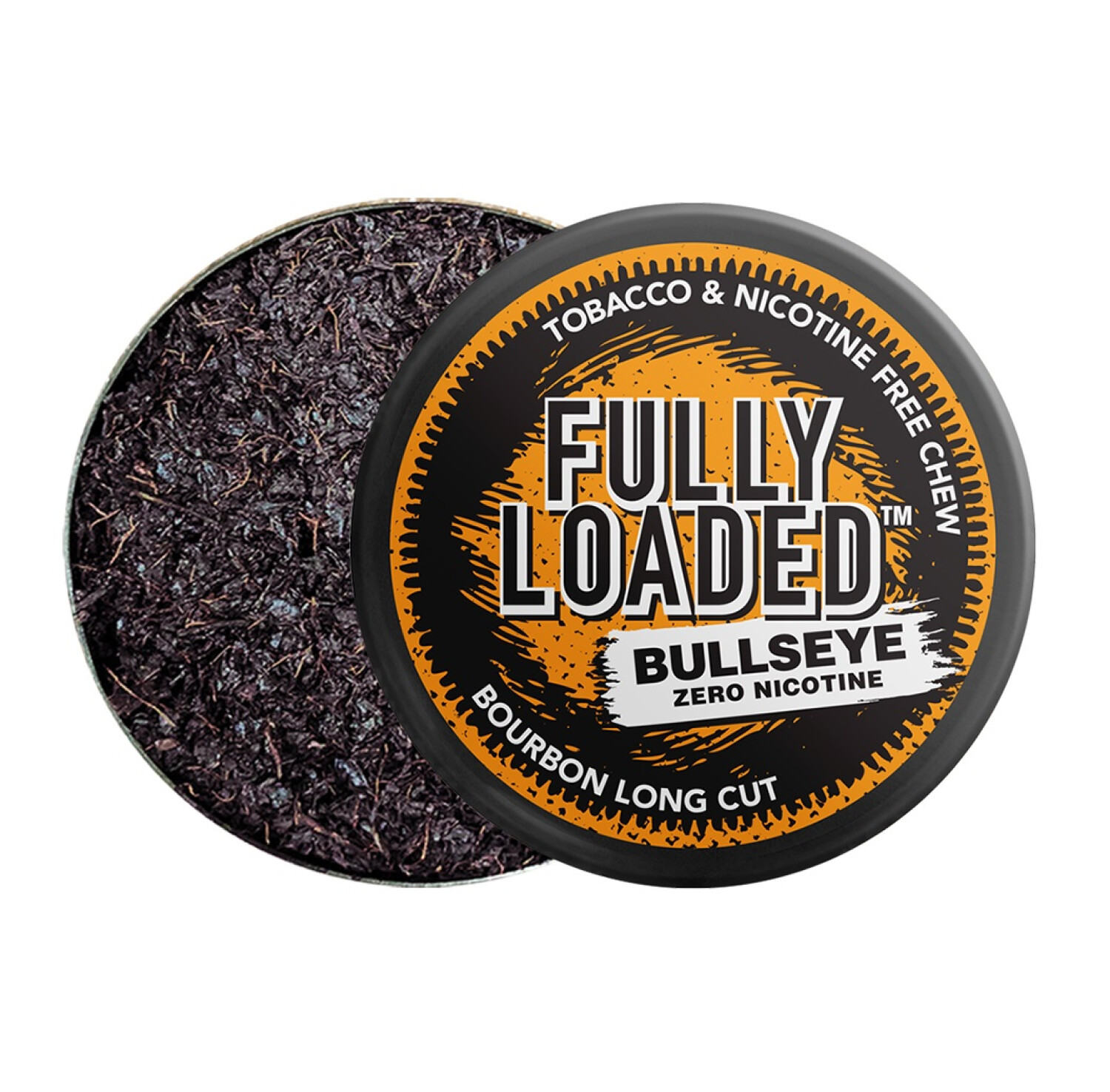 Fully Loaded Chew Tobacco and Nicotine Free Bourbon Bullseye Long Cut Unique Flavor, Chewing Alternative